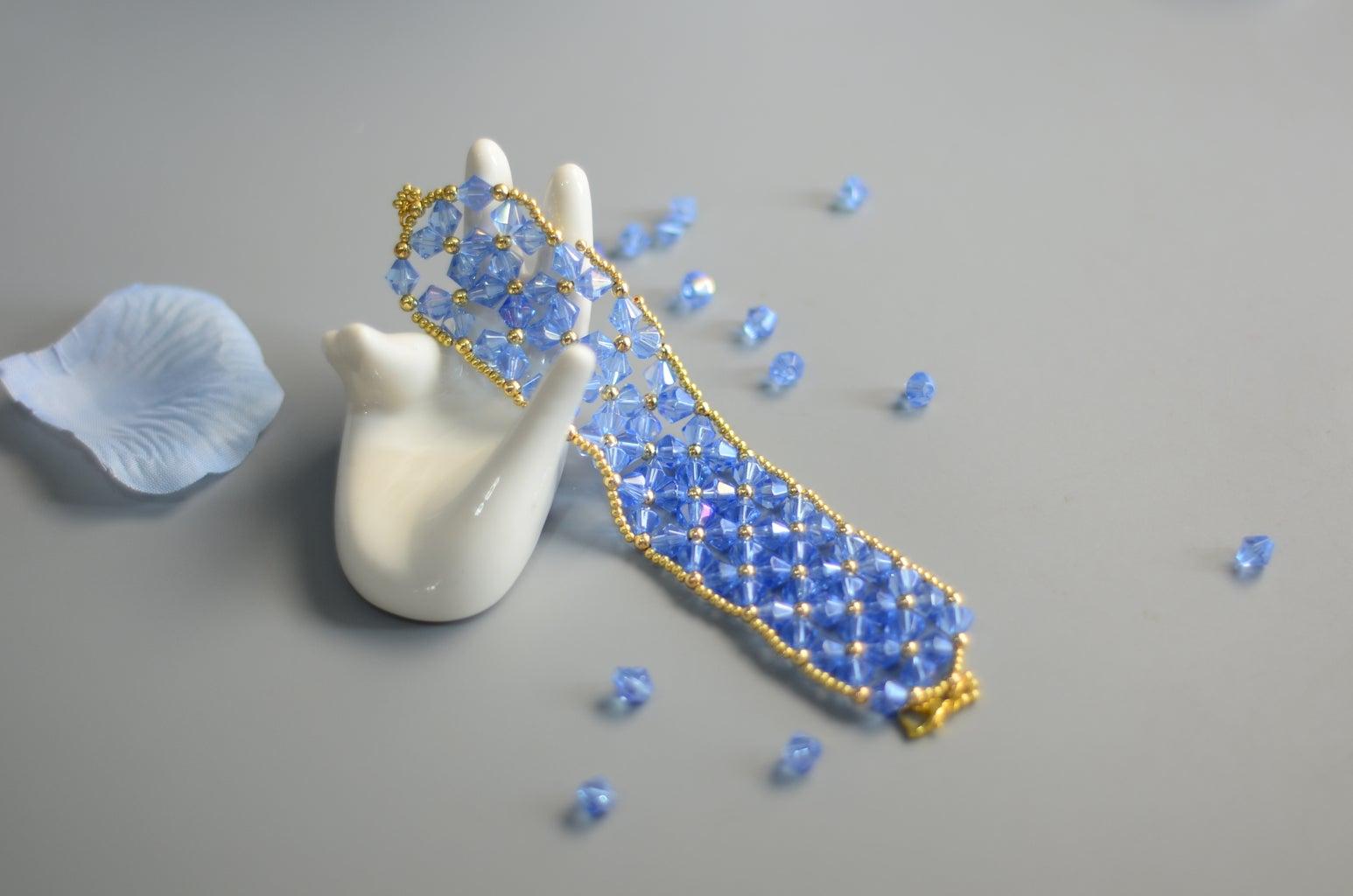 Beebeecraft Tutorials on How to Make Crystal Wide Bracelet