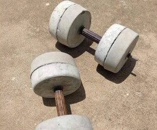 Simple Adjustable Dumbbells Using Concrete