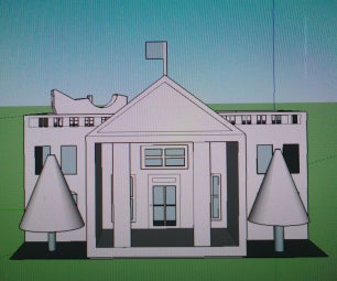 3D White House Ornament With a Sleigh on the Roof