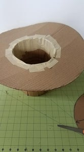 Set the Hat Body on Top of the 6 Inch Hole in the Brim.