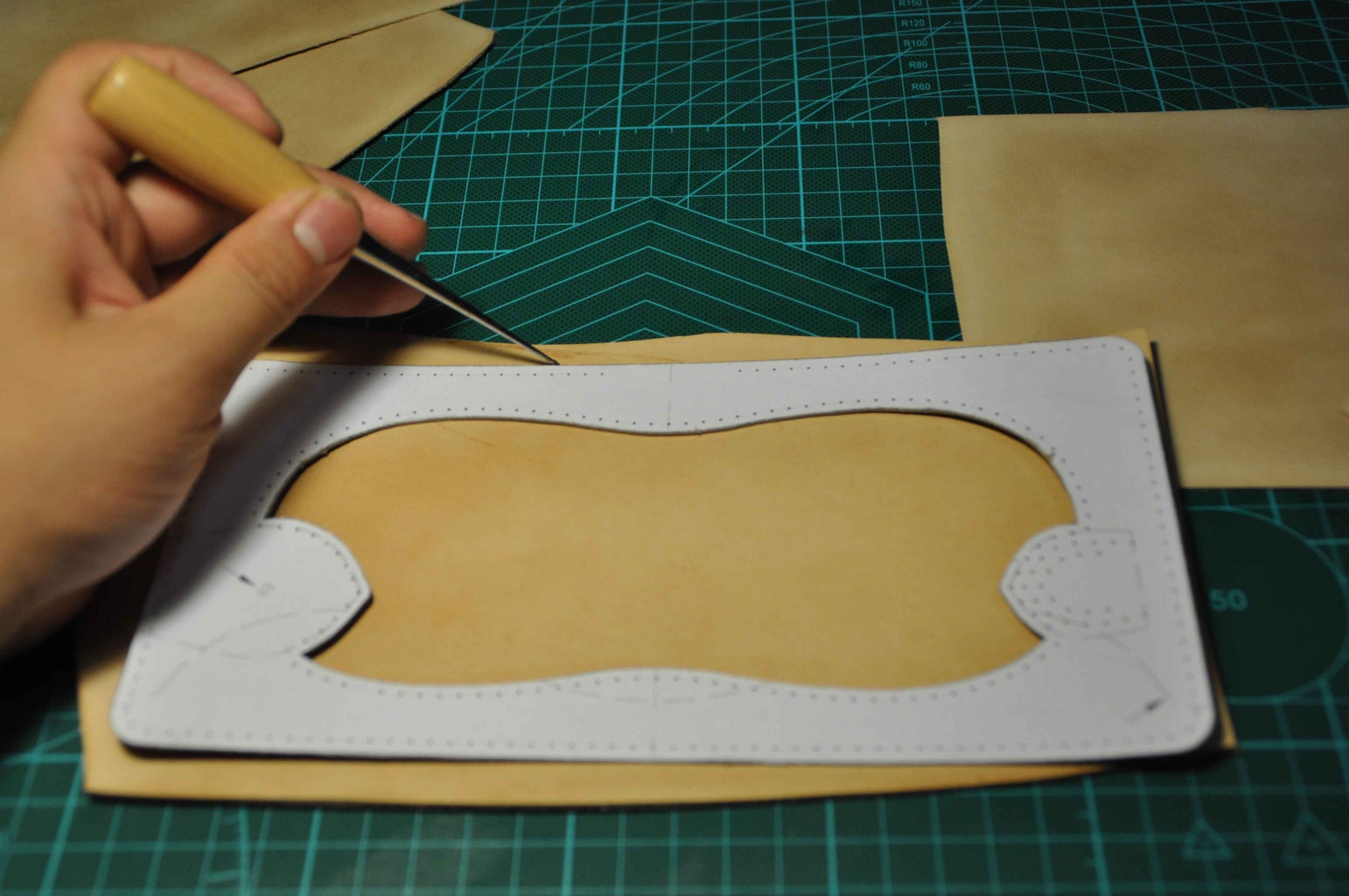 After the Steps Above We Can Begin to Make. First Draw Outlines According to the Patterns on Leather..