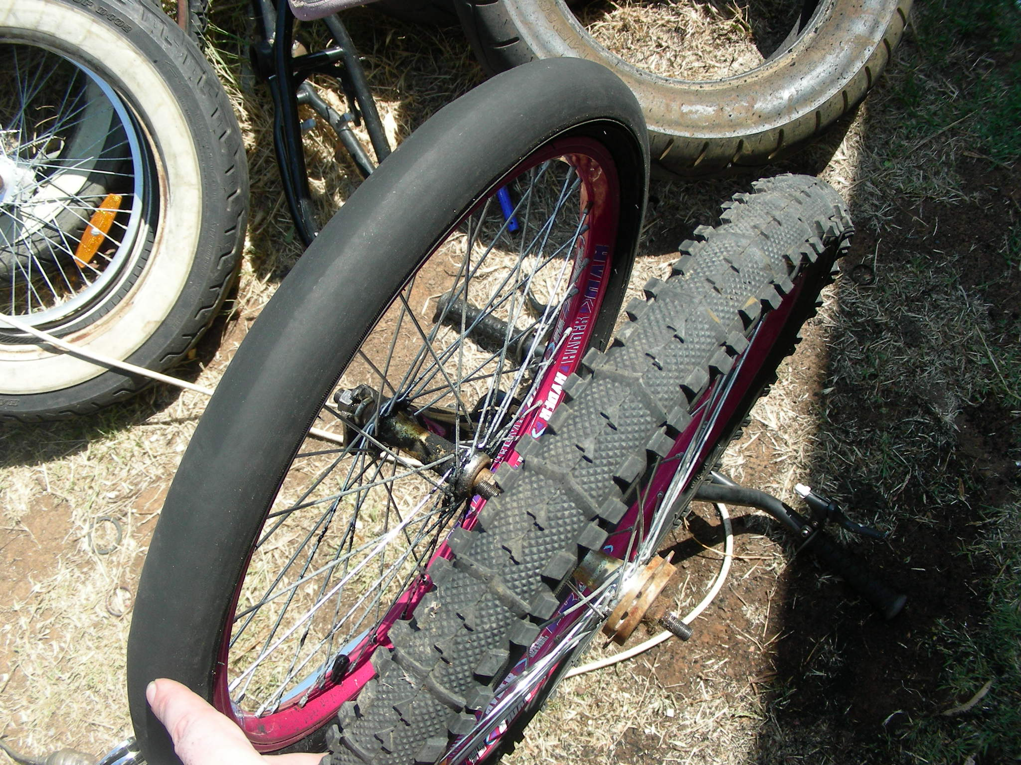 Homemade bicycle slick tires.