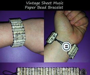 Vintage Sheet Music Paper Bead Bracelet