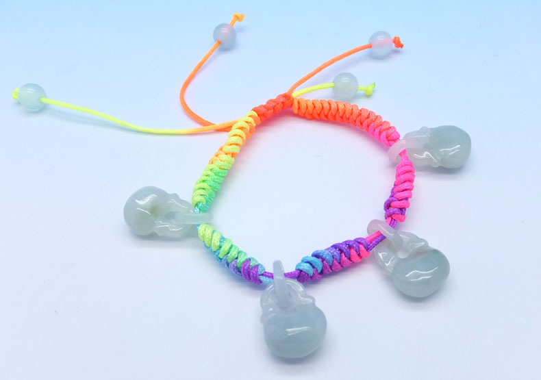 Homemade gift ideas - DIY Rainbow Lock Shaped Jade Charms Bracelet For Kids