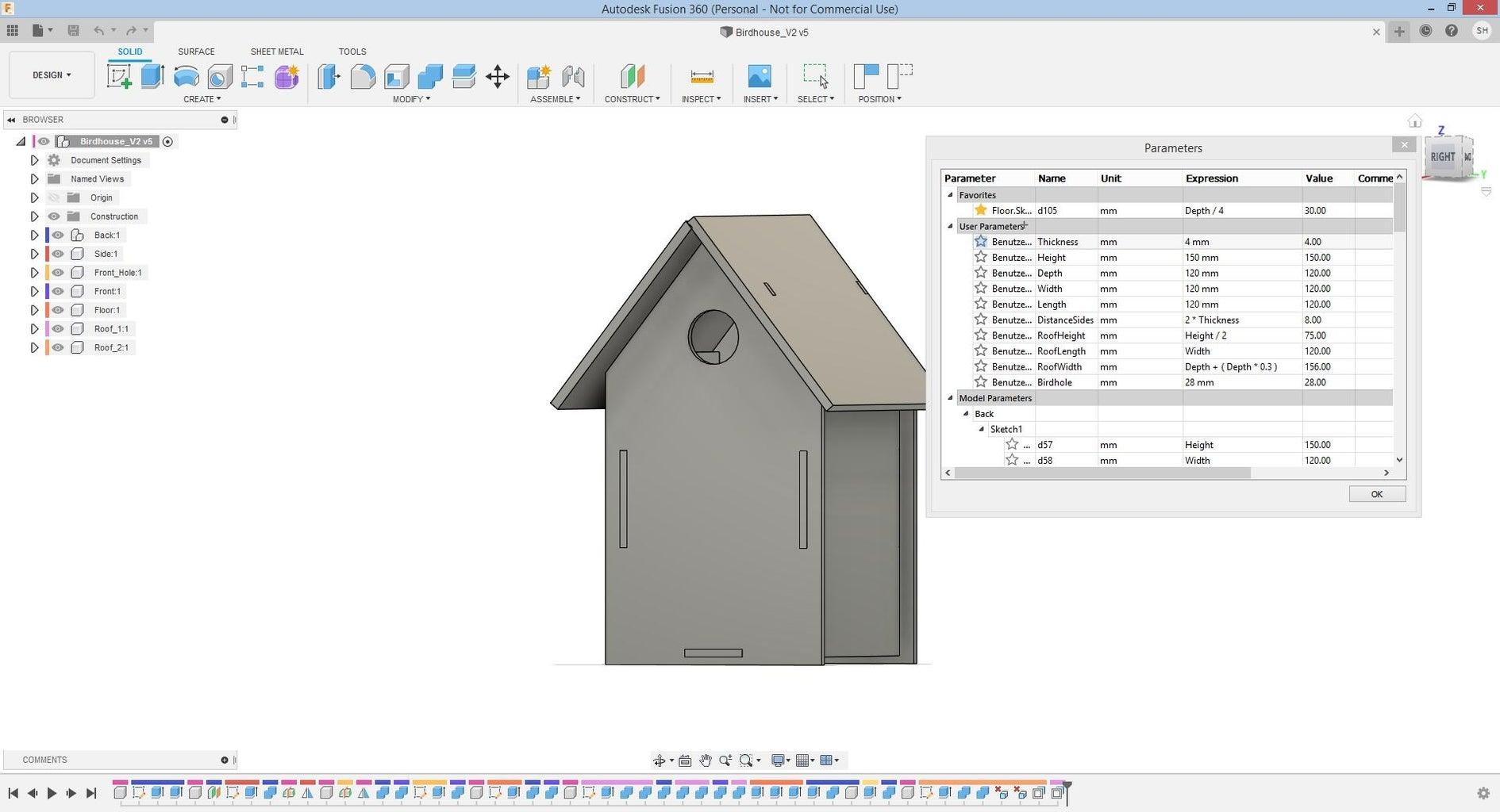 Birdhouse (parametric)
