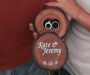Cherry Wood Log Ring Box