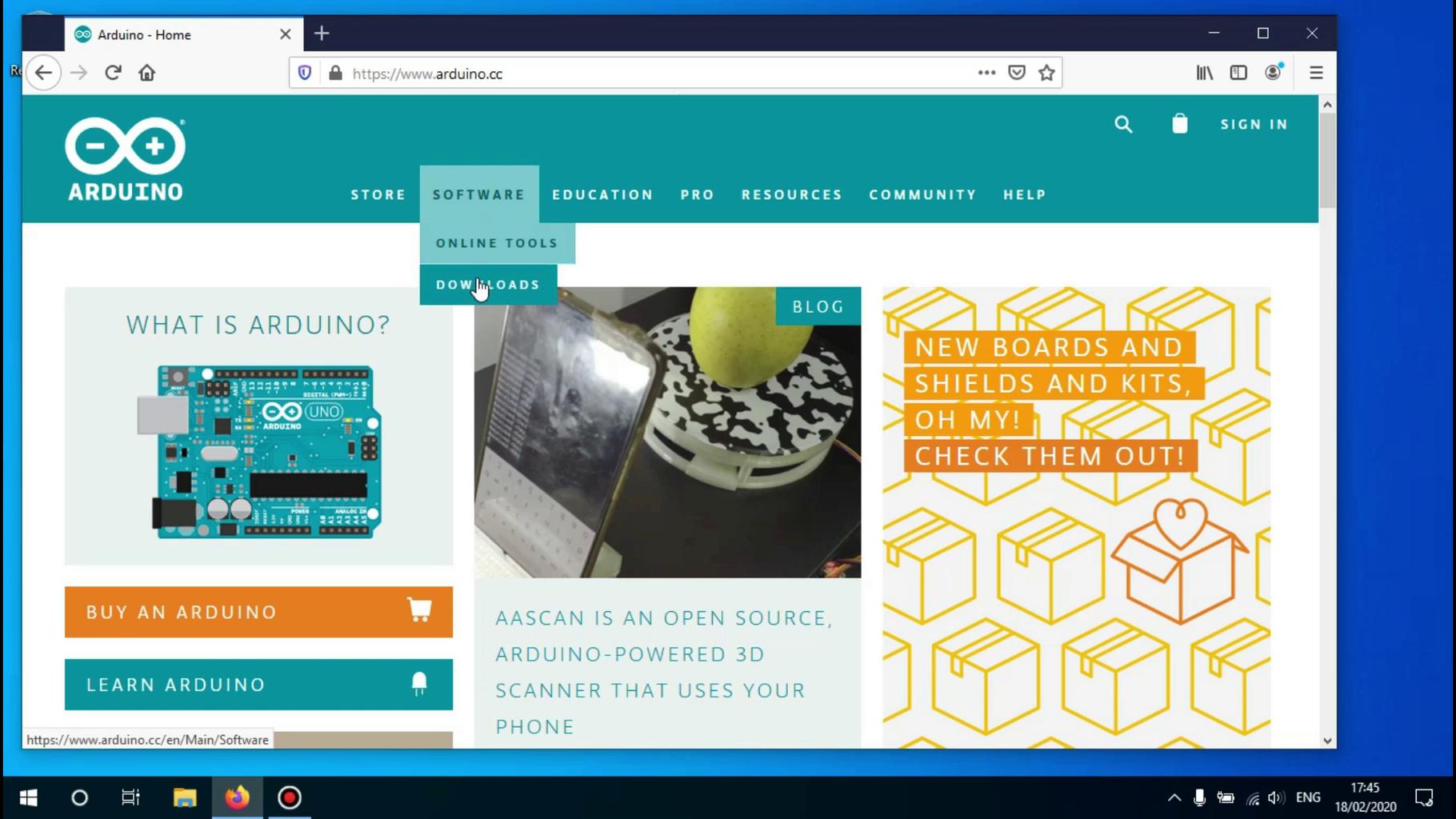 Go to the Arduino.cc Website