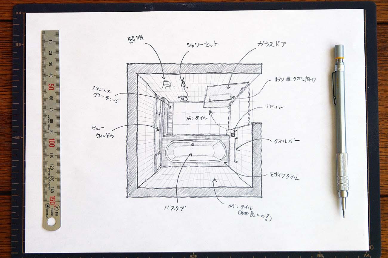 I sketch a interior of a bathroom impromptu