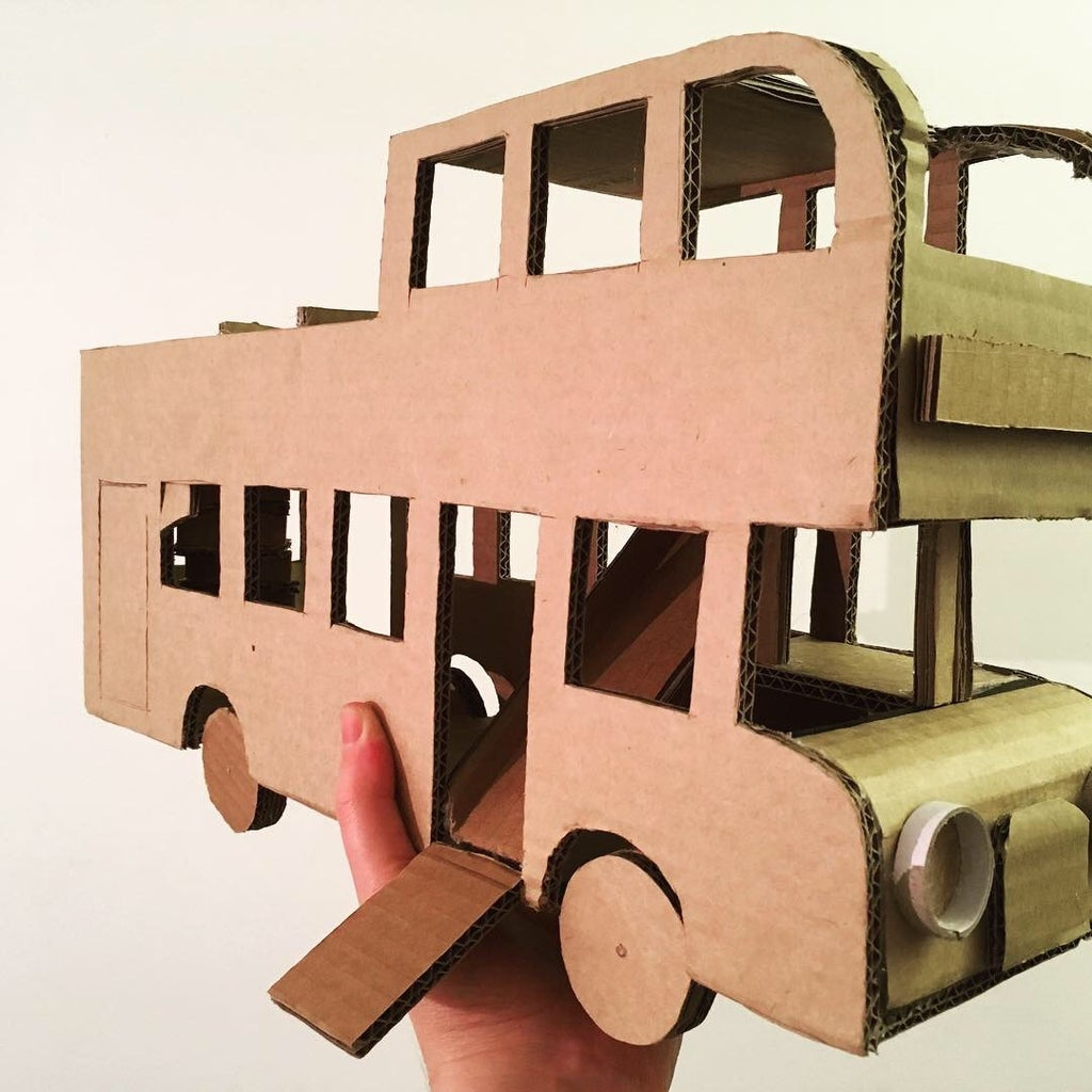Cardboard Box Bus - for a Toy Ride