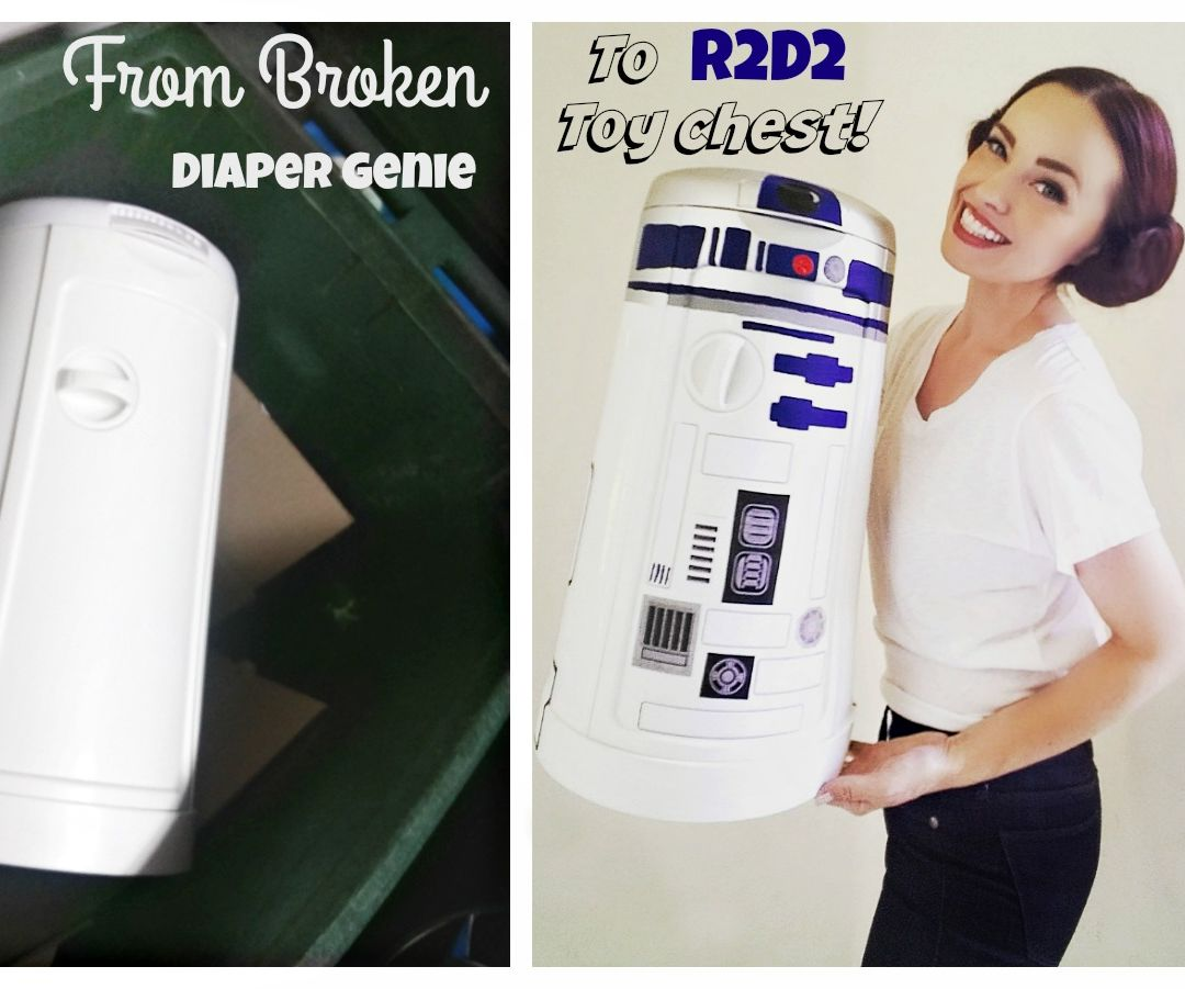 Broken Diaper Genie Turned R2D2 Toy Chest!