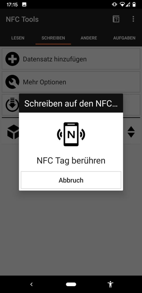 Write on the NFC Chip