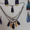 Denim Feather Earrings and Necklace