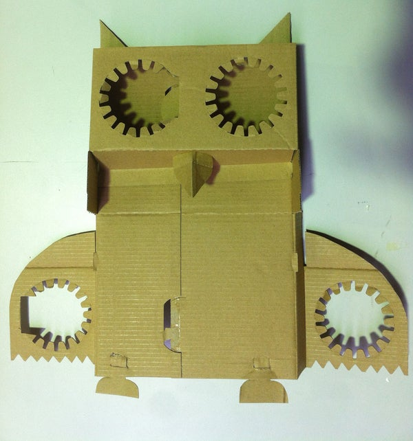 Cardboard Owl From a Takeaway Coffee Tray