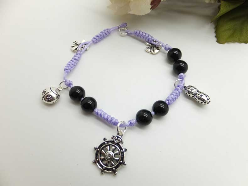 Michaels crafts ideas: handmade bracelets with black agate & silver charms