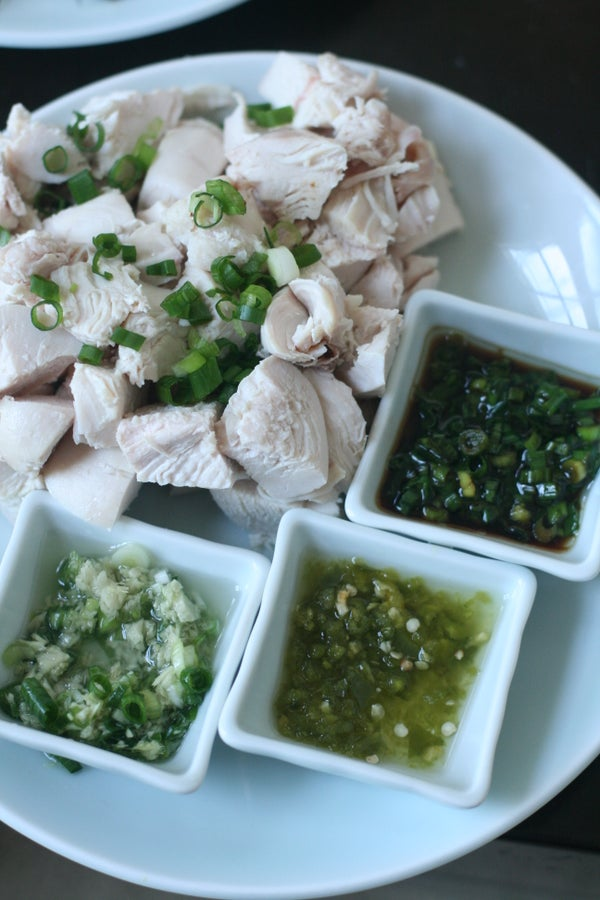 Poached Chicken Breasts With Three Dipping Sauces