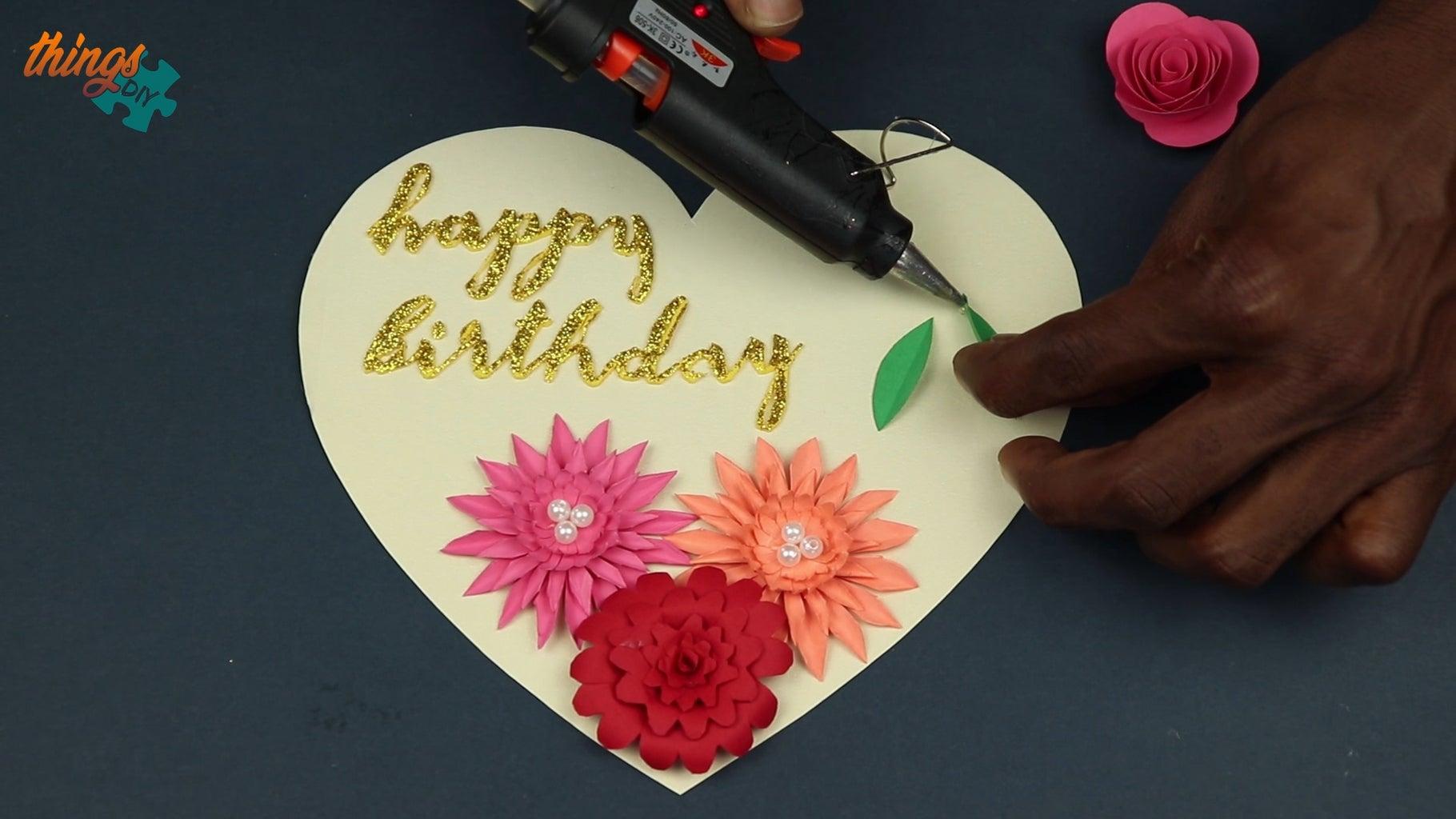 Paste Flowers Onto Card