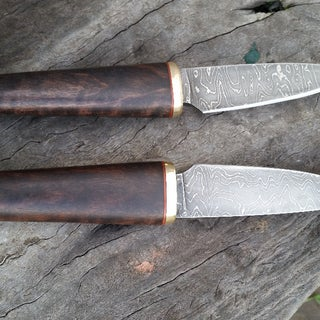 """Small Pattern Welded """"Damascus"""" Steel Kife (With NO Power Hammer)"""