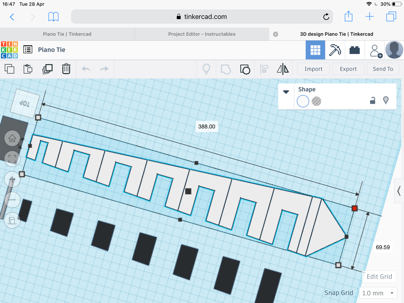 Piano Tie (with Tinkercad)