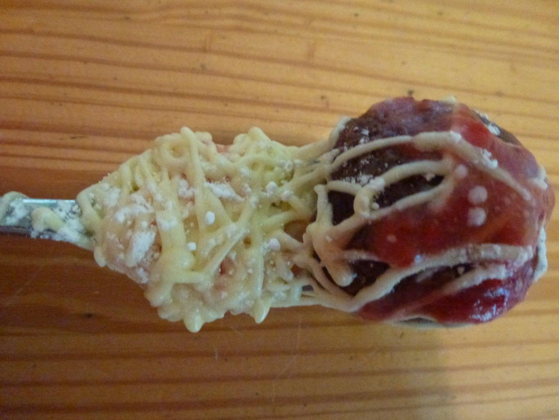 Dessert Spaghetti and Meatballs on a Fork