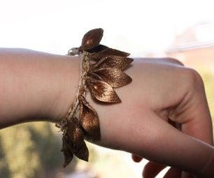 Gold Leather Leaf Bracelet