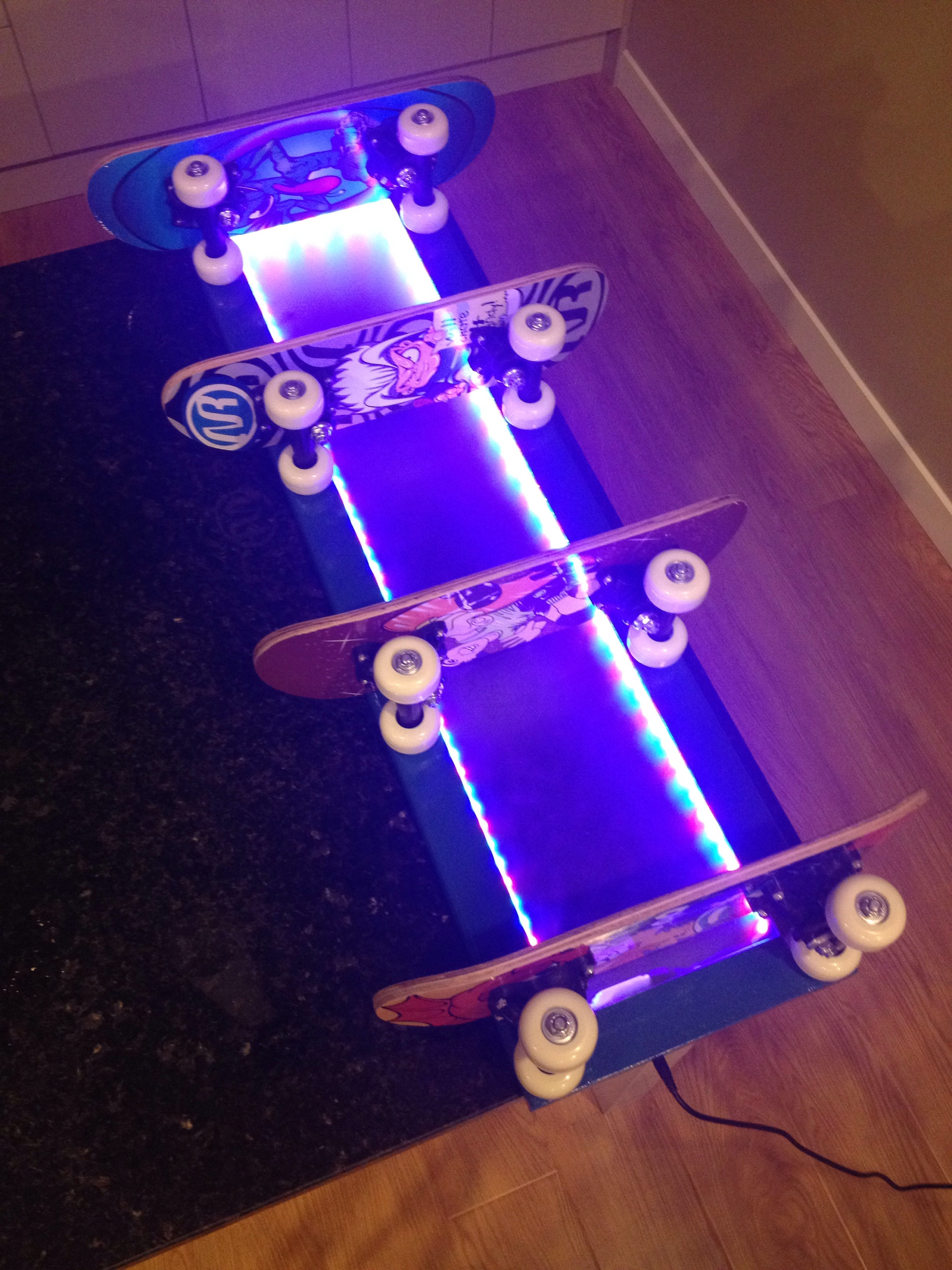 Skateboard Shelves with LED Lighting