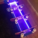 Skateboard Shelves with LED Lighting