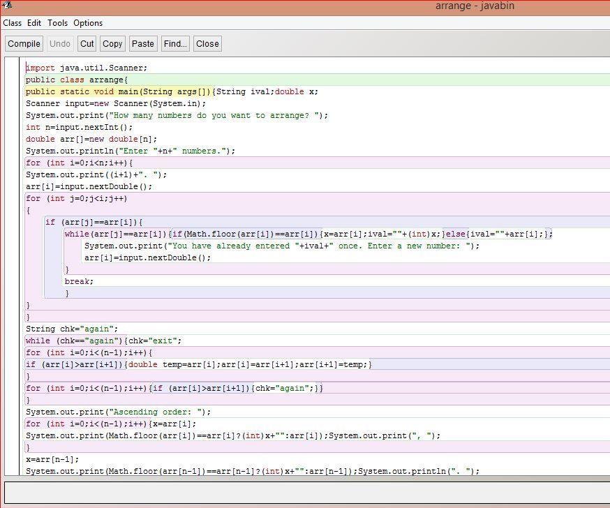 Java program- ASC & DESC order