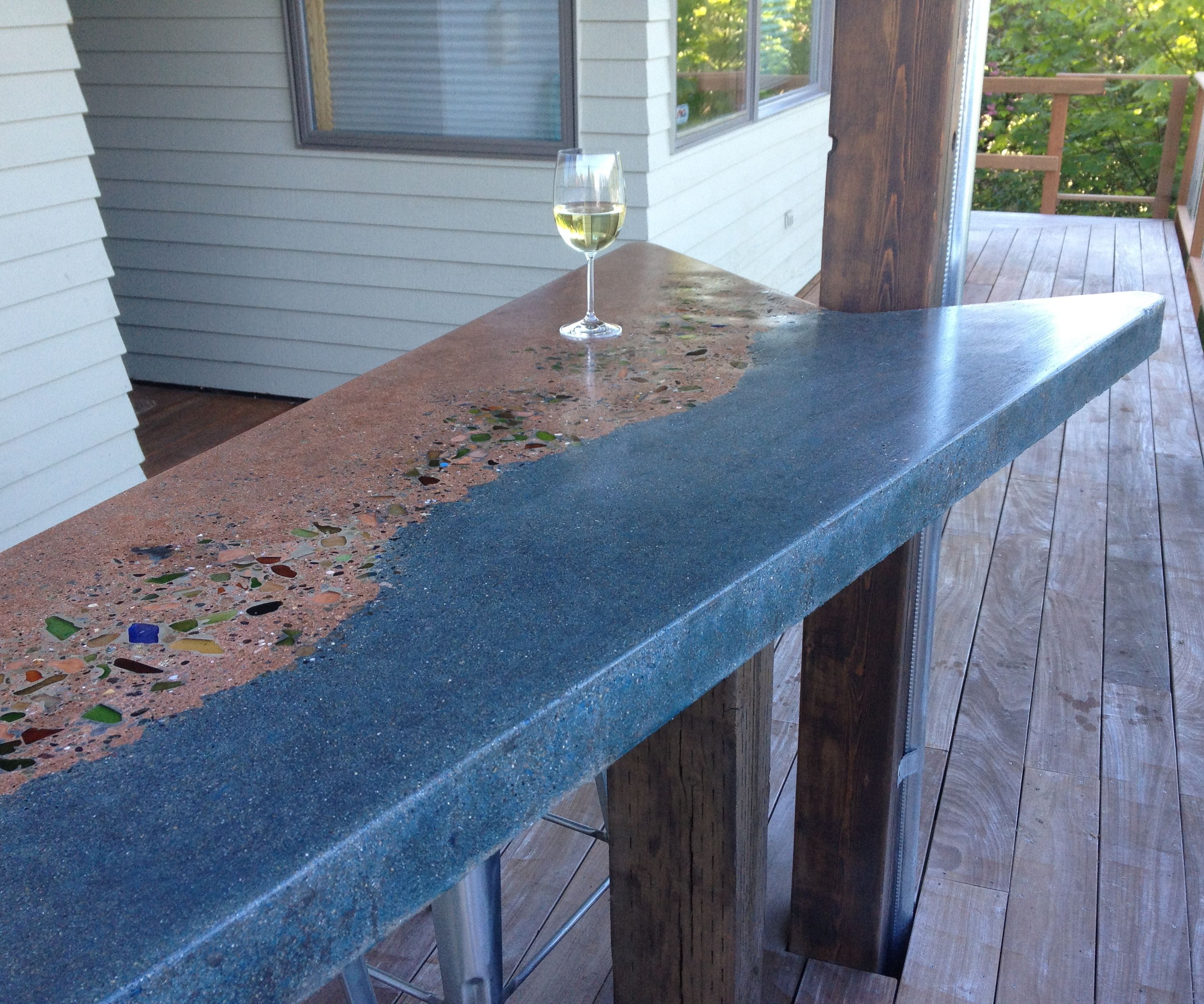 Concrete and Beach Glass Bar