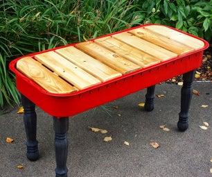 小红色的马车长凳