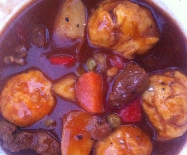 Dumpling Beef Stew for Camping.
