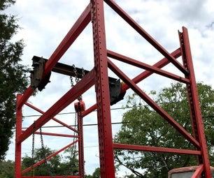 顶上的移动龙门起重机建造(举重的工具)