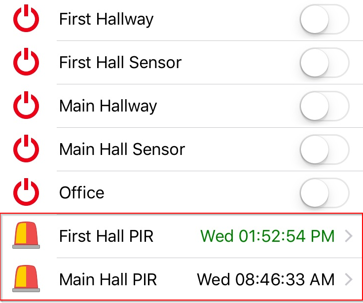Alarm PIR Movement to Home Automation