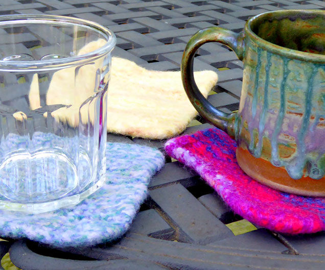 Quick knitted coasters