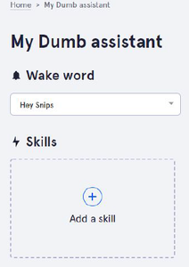 """Select the Wake Up Word (also Called Hot Word) """"Hey Snips"""" and Add a Skill"""