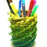 Newspaper Vase- Twist Weave