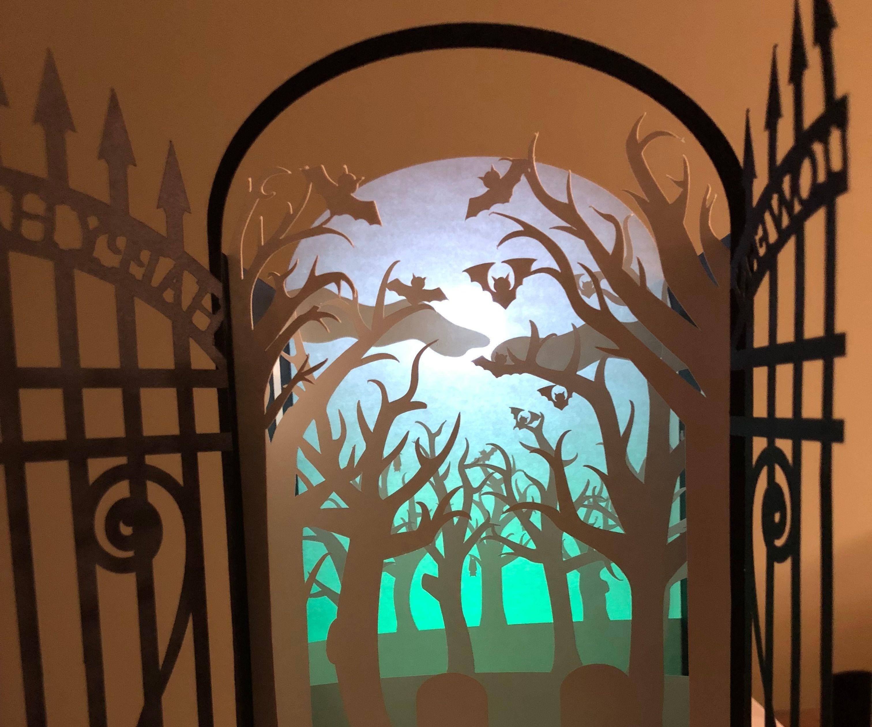 Spooky Cemetery Lightbox Card