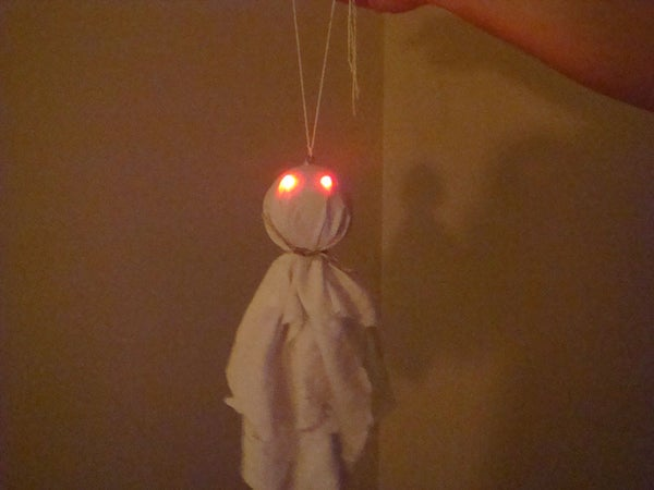 Halloween Hanging Ghost With Glowing LED Eyes