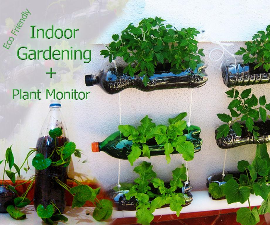 Indoor garden using plastic bottles