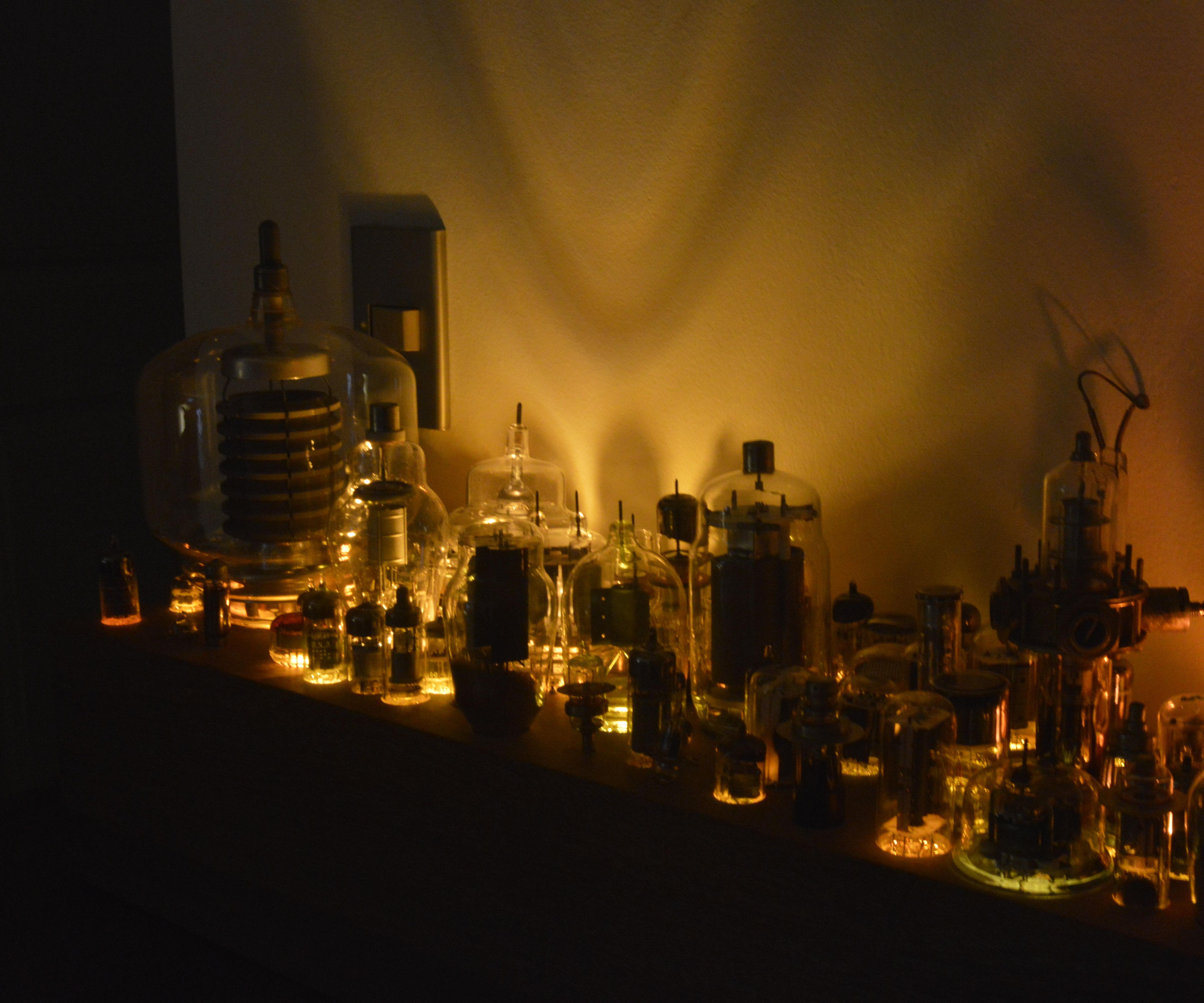 Huge vacuum tube light fixture.