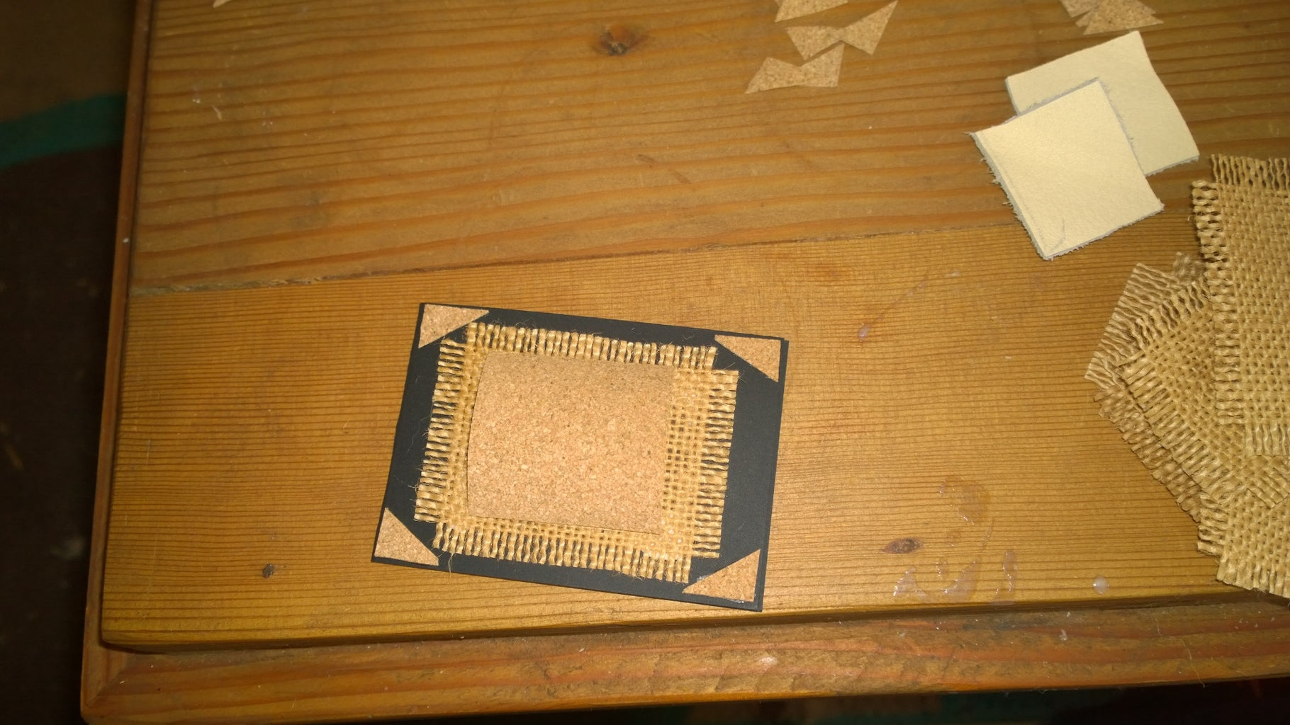 Adding the Corners, the Hessian, the Cork, and the Leather.