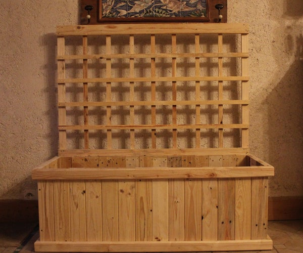DIY Pallet Wood Trellis Planter for Indoor Food Production. FVM Jardiniere Treillis Pour Jardiner En Hiver.  Jardinera Celosia - Bricolaje Con Madera De Palet