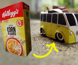 VW迷你巴士模型从纸板箱