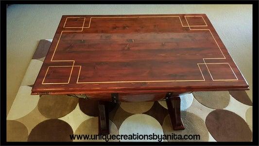 Wine Barrel Table Greek Key Design