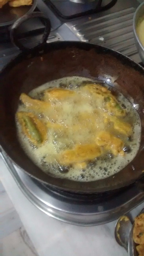 Frying the Chillies With Besan Batter