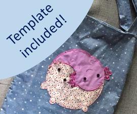 Axolotl Book Bag From Upcycled T-shirts & Curtains