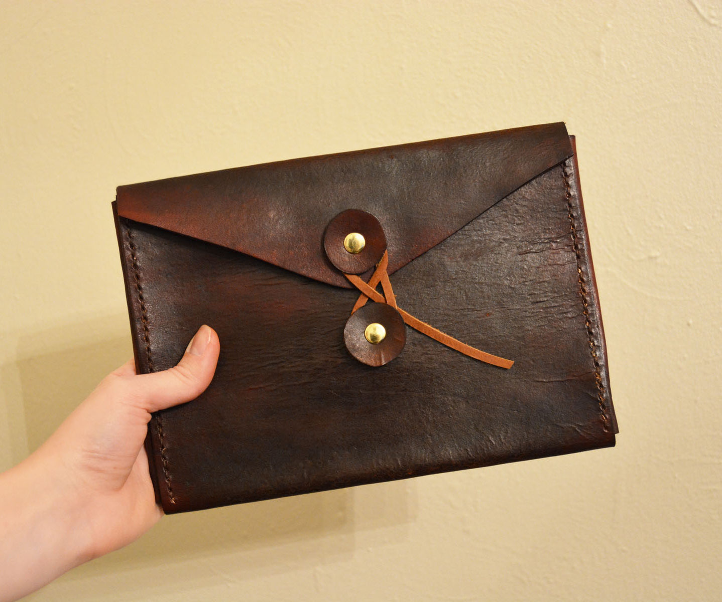 Leather Button & String Envelope Case