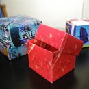 Use flyers or postcards to make a origami gift box