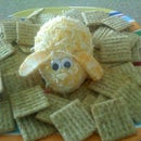 Bunny Rabbit Cheese Ball with Crackers