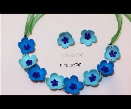Blue Flower Necklace and Earrings:DIY