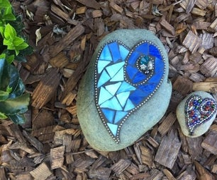 Heart Stained Glass Garden Stone